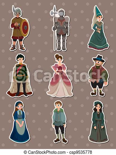 cartoon Medieval people stickers - csp9535778