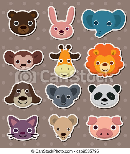 animal face stickers - csp9535795