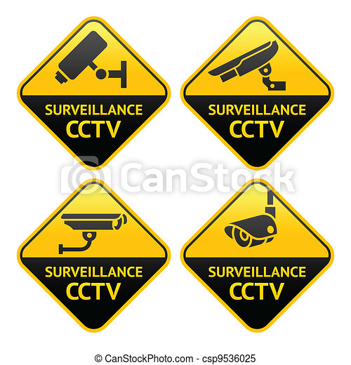 Security camera pictogram, video surveillance - csp9536025
