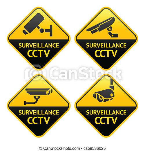 Security camera pictogram, video surveillance - csp9536025