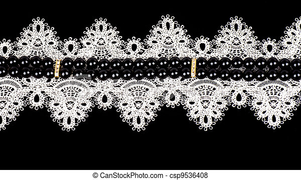 Vintage lace with flowers - csp9536408