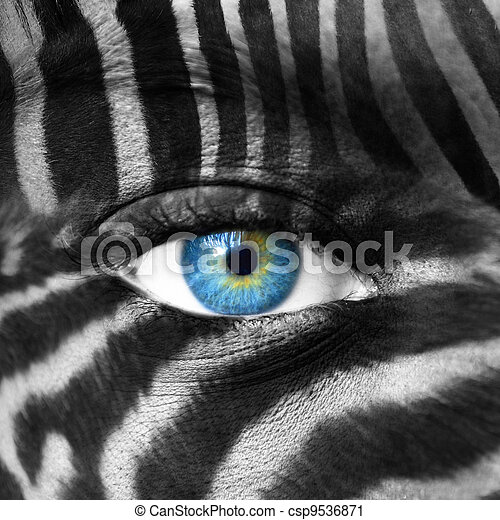 Human face with Zebra pattern - Save endangered species concept - csp9536871