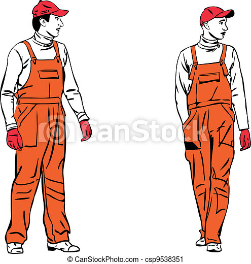 sketch two workers in orange combinations - csp9538351