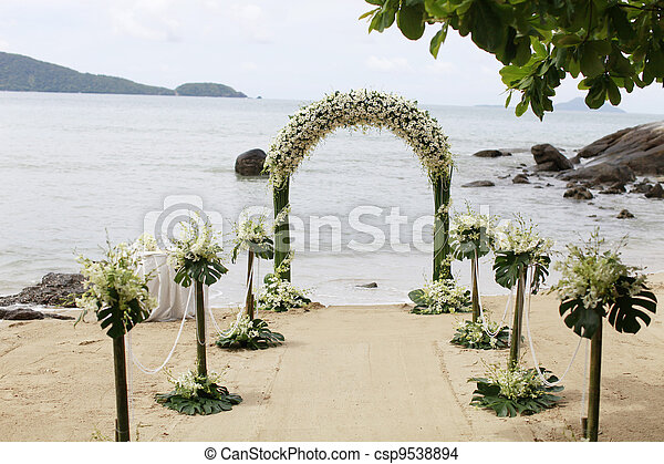 Beautiful beach wedding set-up. - csp9538894