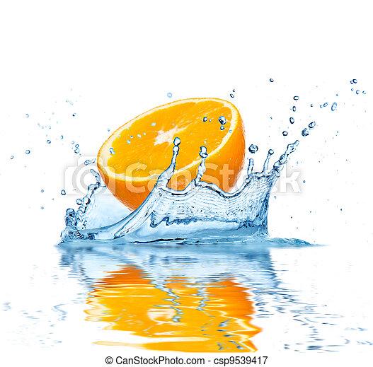 水, 落ちる, フルーツ - csp9539417