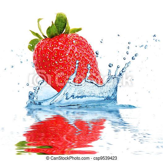 水, 落ちる, フルーツ - csp9539423