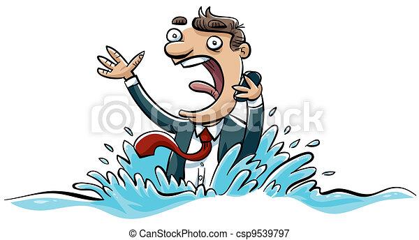 Drowning Businessman - csp9539797