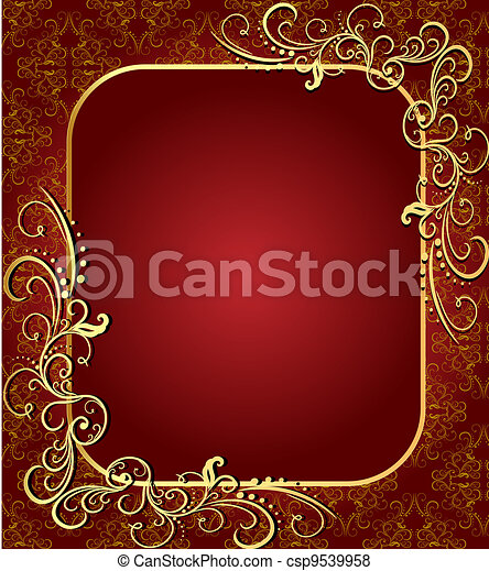 brown background with frame with gold(en)(en) sample - csp9539958