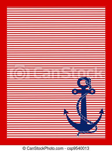 vermelho, listras, azul, âncora - csp9540013