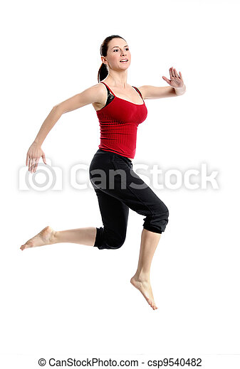 Girl in sportswear jumping jumping over white - csp9540482