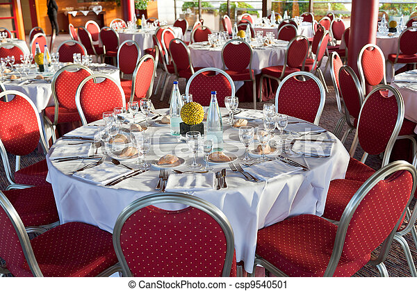 beginning of official dinner in restaurant - csp9540501
