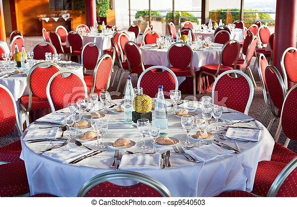beginning of official dinner in restaurant - csp9540503