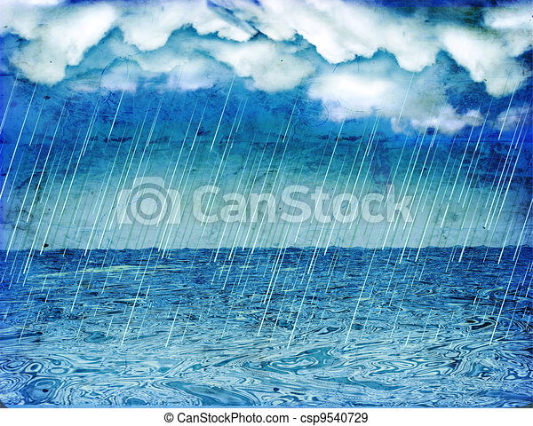 Raining storm in sea.Vintage nature background with dark clouds  - csp9540729