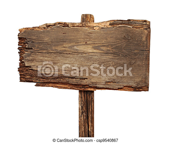 close up of an empty wooden sign isolated on white background - csp9540867