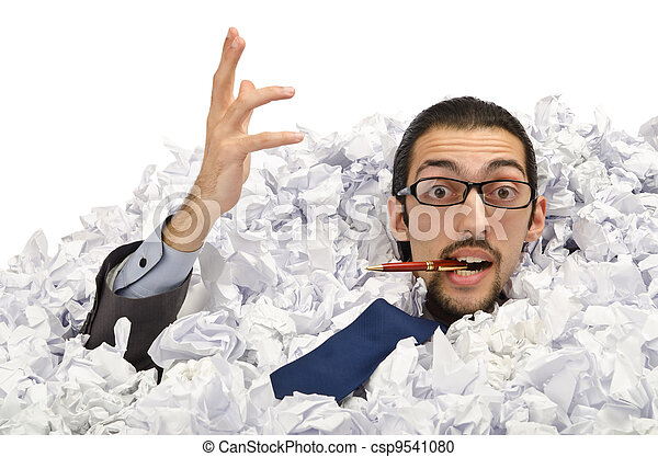 Man with lots of waste paper - csp9541080