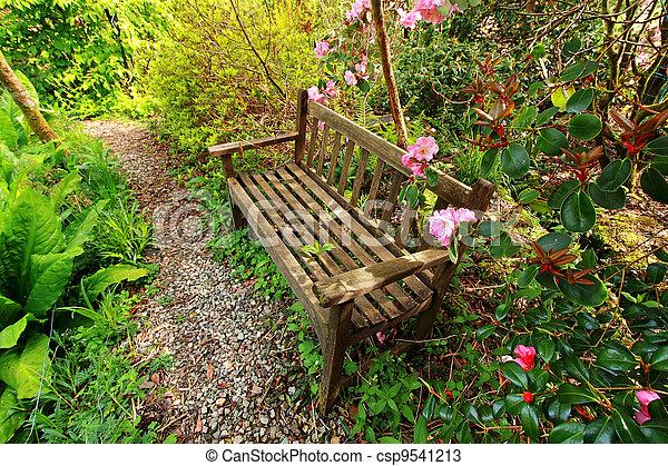 Photo beau romantique jardin bois banc azal e for Jardin romantique francais