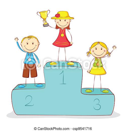 Kids on Victory Podium - csp9541716