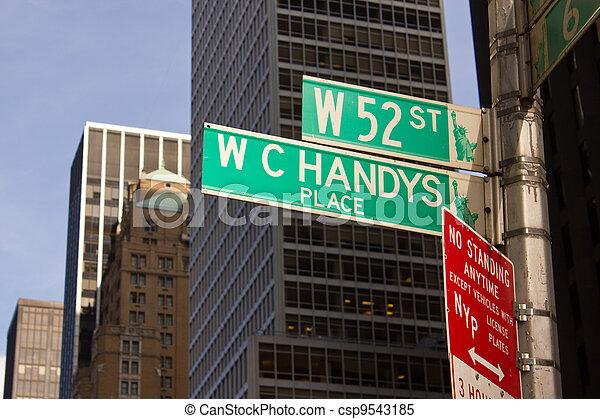 ciudad, clásico, calle,  York, señales, nuevo - csp9543185