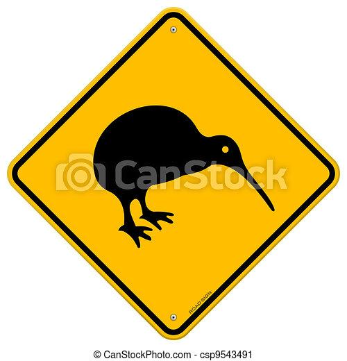 Vektor Clipart von kiwi gelbes zeichen  Classic New Zealand