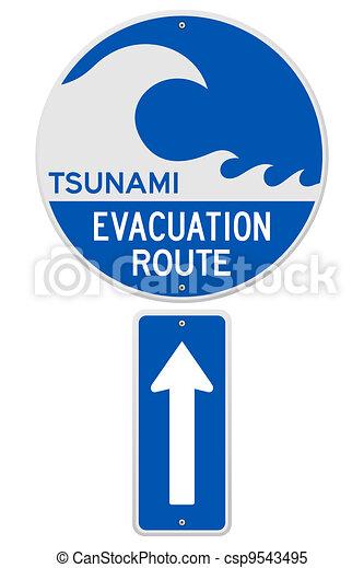 Tsunami Evacuation Route - csp9543495