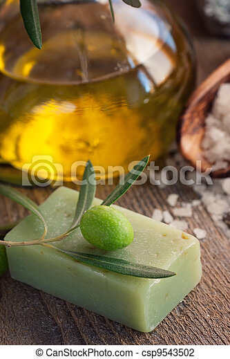 Natural spa setting with olive oil. - csp9543502