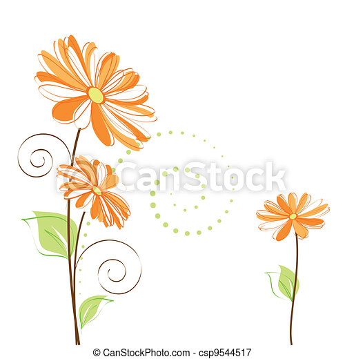 Springtime colorful Daisy flower on white background - csp9544517