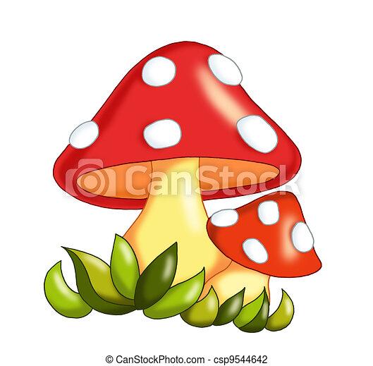 Clip Art de hongos - coloreado, Ilustración, de, hongos csp9544642 ...