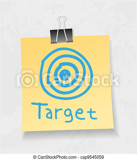Yellow note paper and attach. Target concept - csp9545059