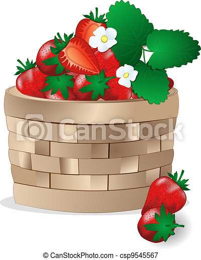 Wicker basket with strawberries - csp9545567