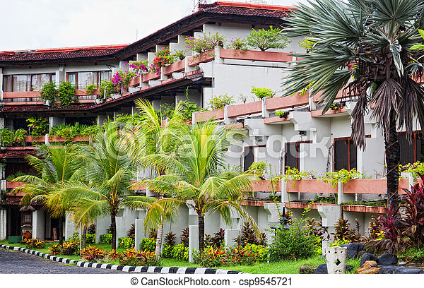 Small three-storyed modern hotel in tropics - csp9545721