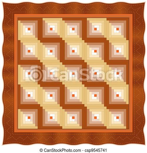 Quilt, Log Cabin Design Pattern - csp9545741