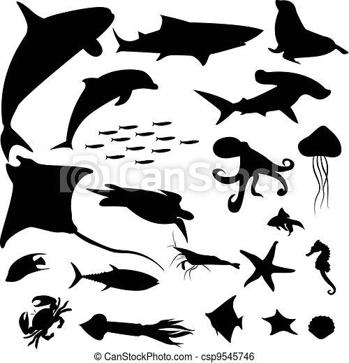 Aquatic life silhouettes pack - csp9545746