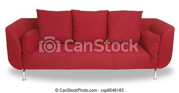 comfy red couch sofa isolated on white with - csp9546183