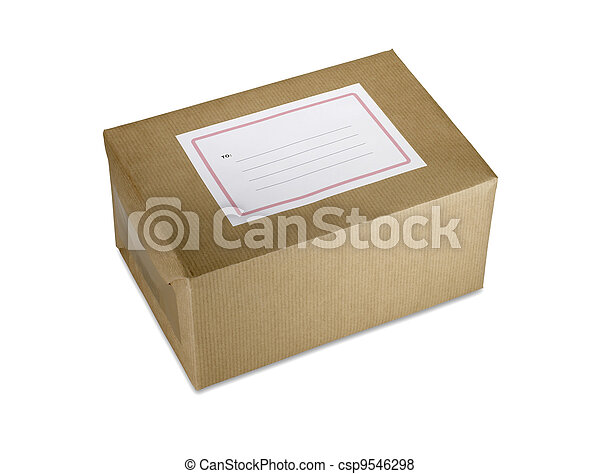 brown paper parcel with blank label clipping path - csp9546298