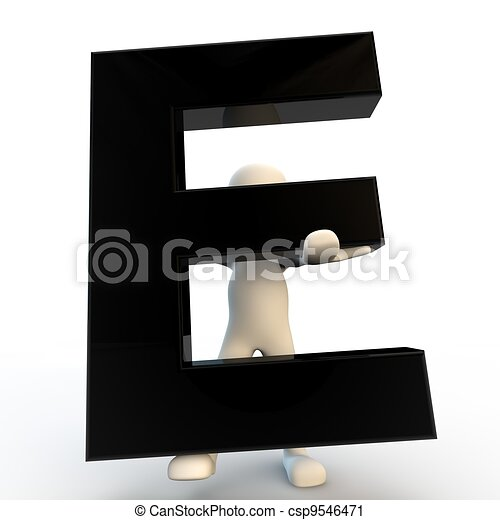 3D Human character holding black letter E, small people - csp9546471