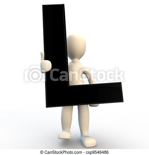 3D Human character holding black letter L, small people - csp9546486