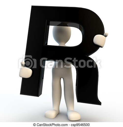 3D Human character holding black letter R, small people - csp9546500