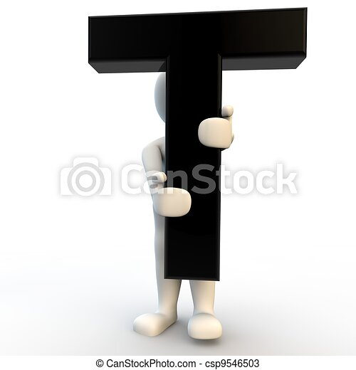3D Human character holding black letter T, small people - csp9546503