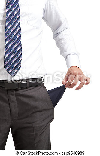 businessman pulling out  empty pocket - csp9546989