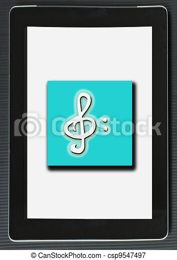 Musical note over tablet - csp9547497