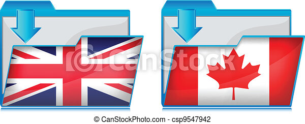 Folder icon with flag  - csp9547942