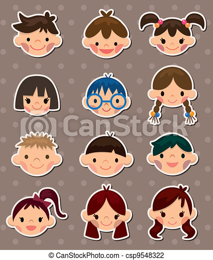 kid face stickers - csp9548322
