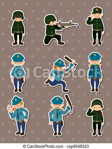 police and army stickers - csp9548323