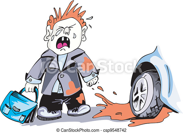Crying boy and car wheel - csp9548742
