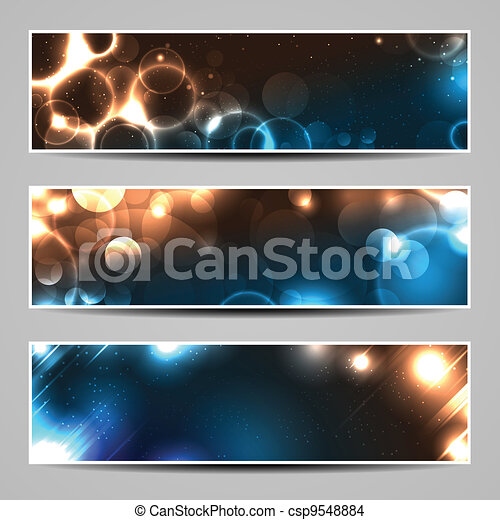 Three banners with bokeh lights and blurs - csp9548884
