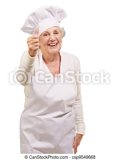 portrait of cook senior woman doing approval gesture over white background - csp9549668