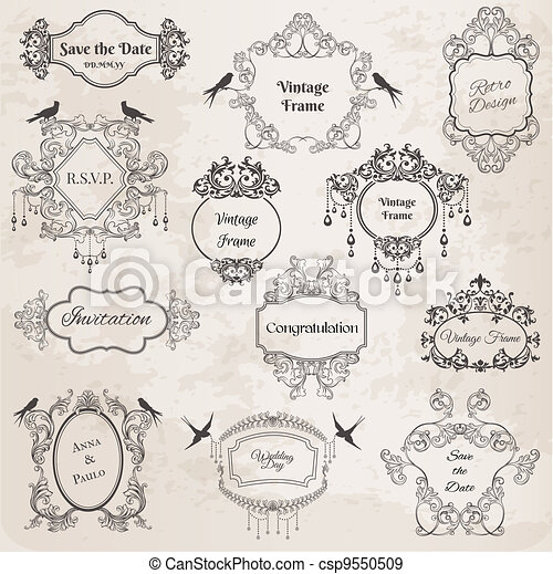 Vintage Frames and Design Elements- for wedding, invitation, birthday, greetings, scrapbook - in vector - csp9550509