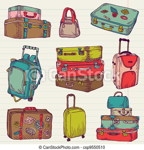 Set of Vintage Colorful Suitcases - for design and scrapbook in vector - csp9550510