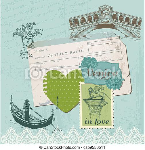 Scrapbook Design Elements - Venice Vintage Set -  in vector - csp9550511
