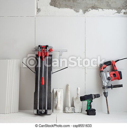 construction tools as tiles cutter electric hammer drill - csp9551633